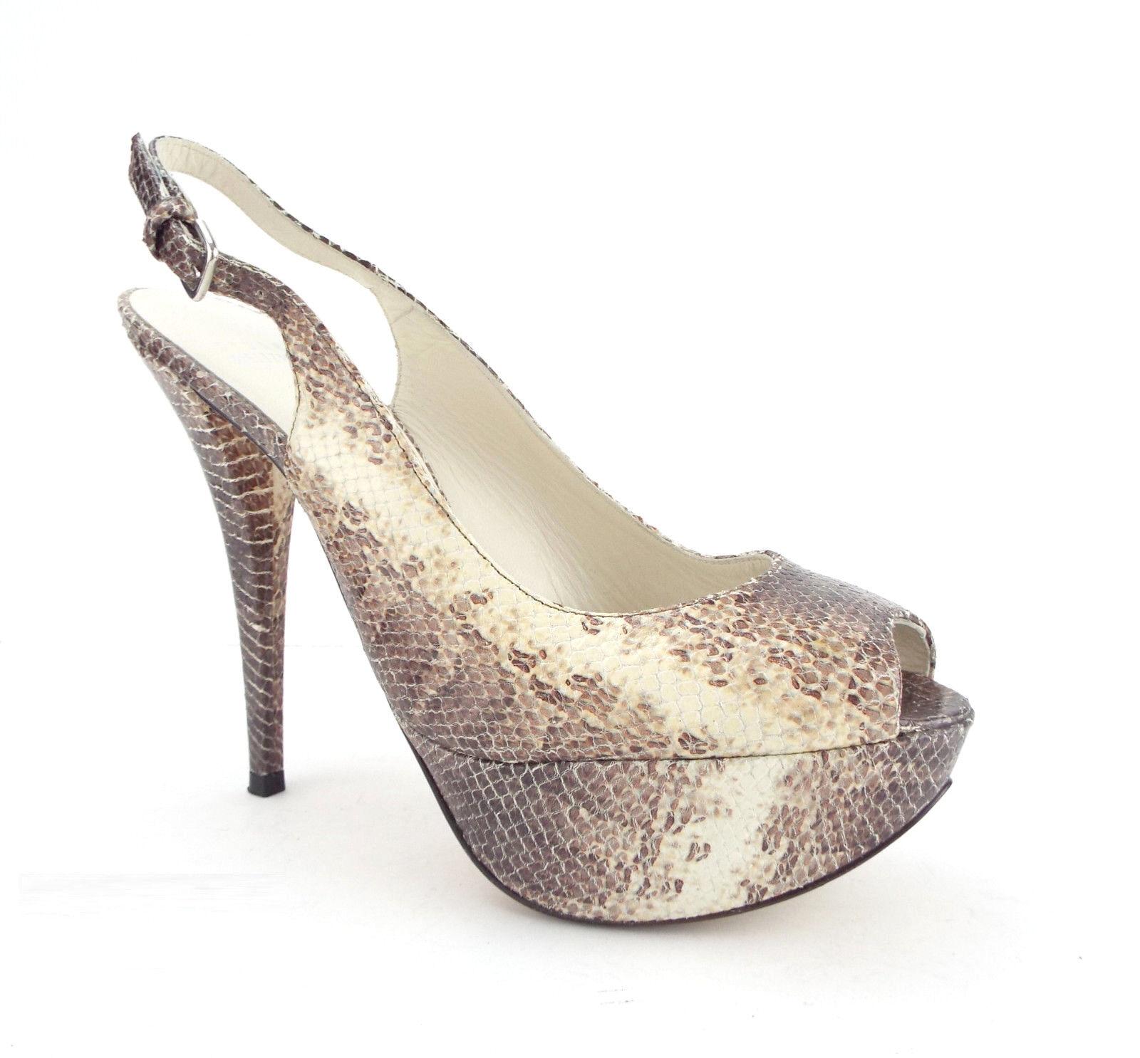 STUART WEITZMAN Size 8.5 VEVEY Snake Platform Slingback Heels Pumps Shoes 8 1/2