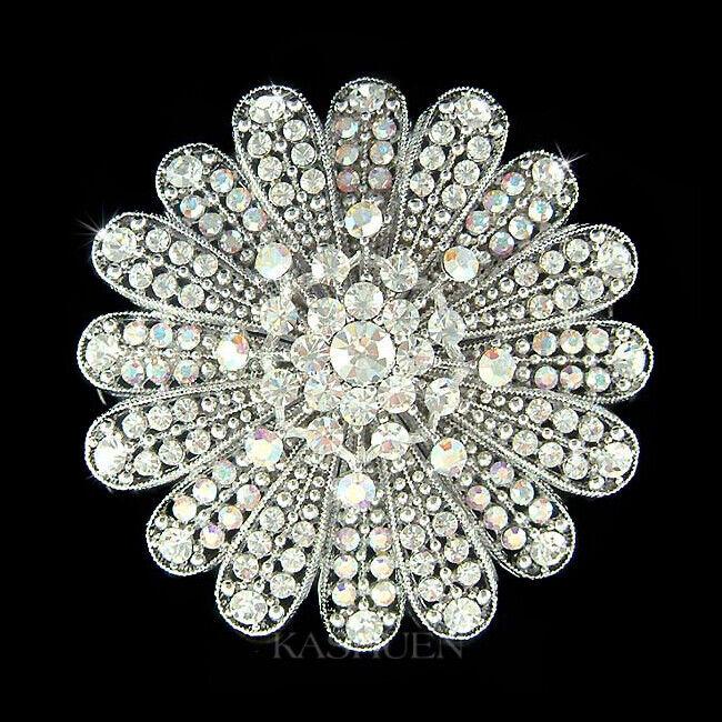 Starburst Sunflower Flower Floral made with Swarovski Crystal Bridal Pin Brooch