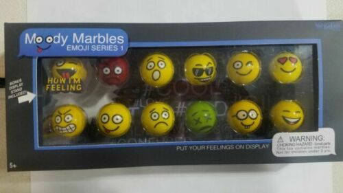Shooter Marbles Moody Marbles Emoji Series 1 Set of 12 marbles with stand ~New~