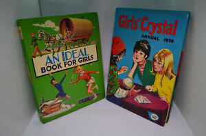 2-Vintage-Books-for-Girls-An-Ideal-Book-for-Girls-039-72-Girls-Crystal-Annual-039-74