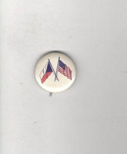 1940s pin WWII HOMEFRONT pinback US & CZECHOSLAVAKIA Flag Ocuppied by GERMANY