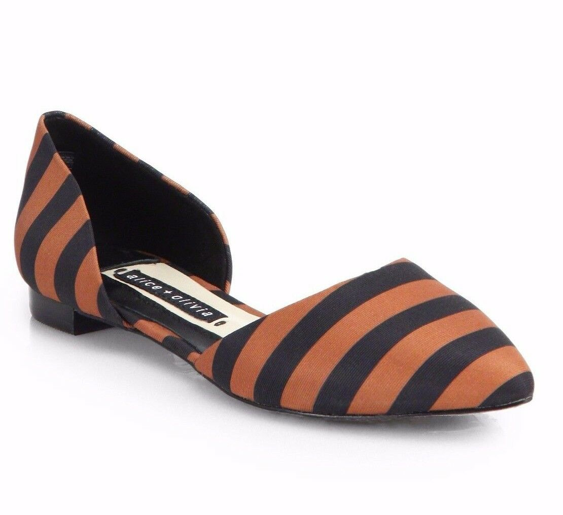 NEW ALICE+OLIVIA D'ORSAY Sz37 HILARY GROSGRAIN STRIPE D'ORSAY ALICE+OLIVIA FLATS IN CAMEL/BLACK 12c300
