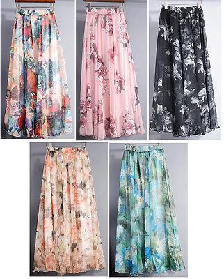 2015 Women Chiffon Floral Print Pleated Elastic WaistBand Maxi Long Skirt Dress