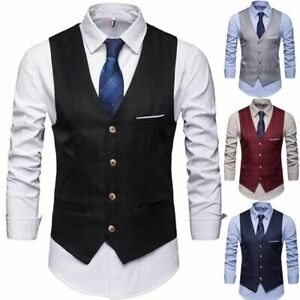 Men-Formal-Dress-Vest-Tuxedo-Waistcoat-Business-Suit-Top-Slim-Blazer-Jacket-Coat