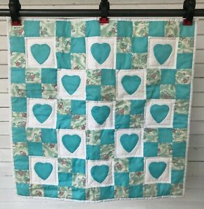 Vintage-Kitty-Cat-Heart-Blue-Quilt-Baby-Doll-Blanket-Throw-Security-Homemade-23-034