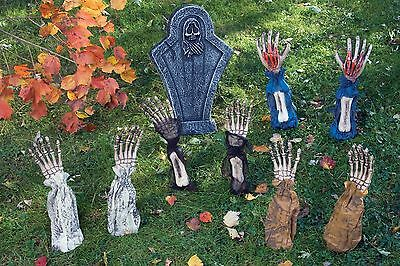 Hands Arms Coming Out of Ground Lawn Stake Arm Stakes Skeleton Hand Bones NEW