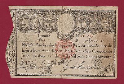Portugal Imperial Treasury 10000 Reis 1799 P-41b RARE NOTE IN THIS GRADE