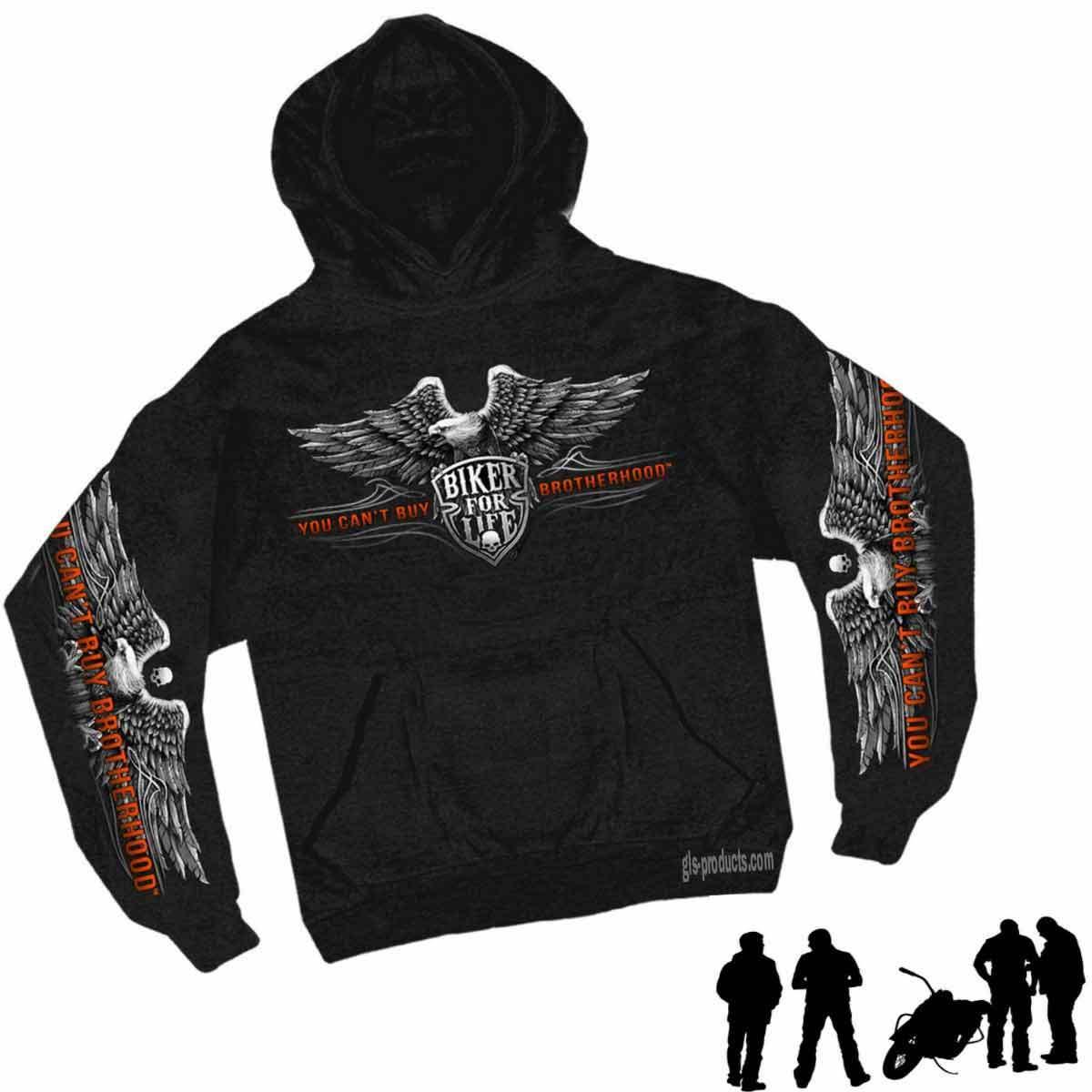Brotherhood Eagle Hoody Sweatshirt Baumwolle Longsleeve bedruckt Kapuzen-Sweater