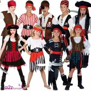 Child Pirate Captain Costume Girls Buccaneer Caribbean Kids Book Day Fancy Dress