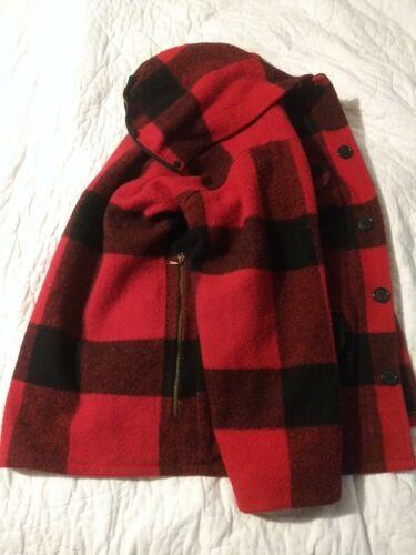 Vintage Johnson Woolen Mills Red Flannel Coat Plai
