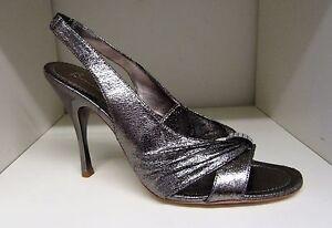 Leather Slingback Evening scarpe Size Brand 7 Silver Bourne New Diamante Ffx45Ww