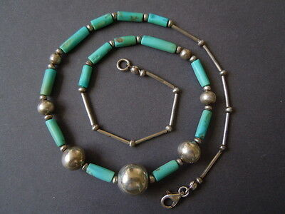 Loose Gemstones Kette Mit 925 Silber Elementen Kugeln Stäbe Natur Türkis Stäben 15,6 G/48 Cm Easy To Repair Fine Jewelry