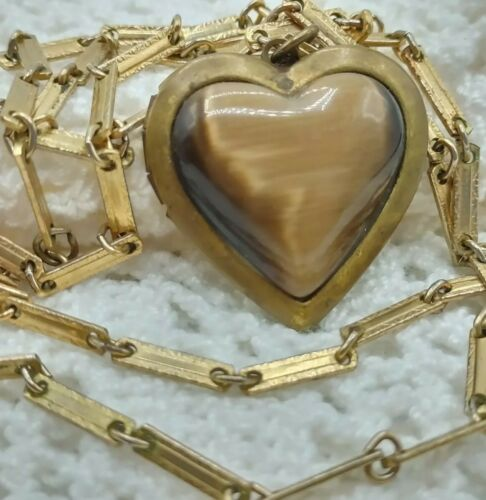 """30"""" Bronze Brown Moonglow Heart Locket Necklace Gr"""