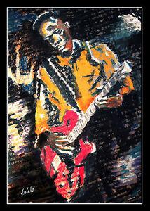 John Lee Hooker e chitarrista grafica poster arte Volker Welz rock FUNK ROCK ROLL