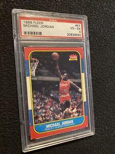 Michael-Jordan-Rookie-Card-PSA-4-Fleer-57-MJ-Collector-INVESTMENT-1986-Man-Cave