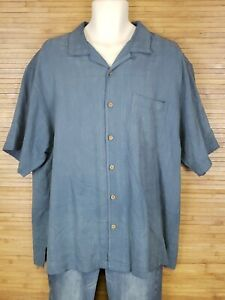 Tommy-Bahama-Blue-Checkered-100-Silk-Hawaiian-Shirt-Mens-Size-XL