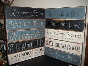 Wood Signs Vtg Distressed Aged Style Prim Decor Block Signs Country Rustic Signs Ebay