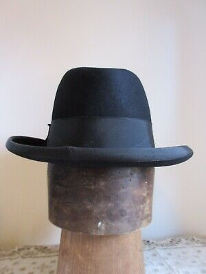 Vintage Men S Black Formal Homburg Hat By Christys London Austin Reed Ltd 53cm Ebay