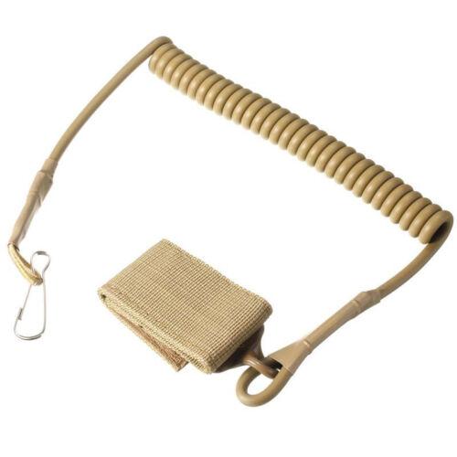 New Elastic Lanyard Buckle Military Tactical Pistol Sling Hook Tan For Gun Rifle