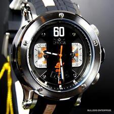 Mens Invicta S1 Rally GMT 48mm Black Silver Tone Rubber Silicone Watch New