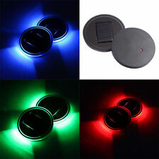 Solar Cup Holder Bottom Pad LED BLUE RED GREEN Atmosphere Lights For All US Cars