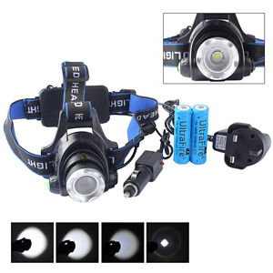 2*18650 Battery 20000LM XM-L T6 LED Head Torch 18650 Headlamp Headlight