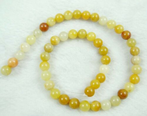"""Natural Round smooth yellow jade Jewelry Making loose GEM beads strand 15/""""AAA"""