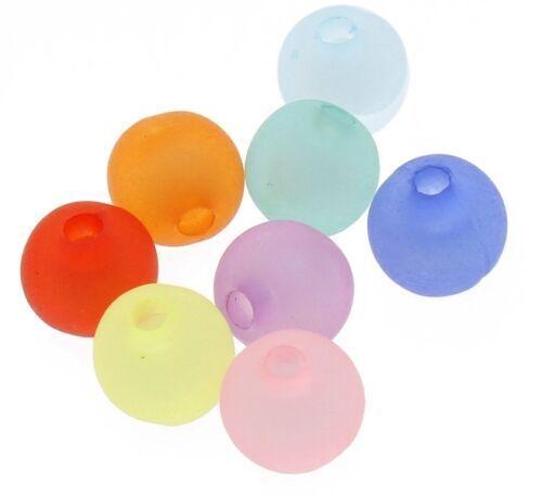 200 Plastique Perles 8 mm gefrostet Polaris Effet Multicolores Acrylique Bijoux Best r188