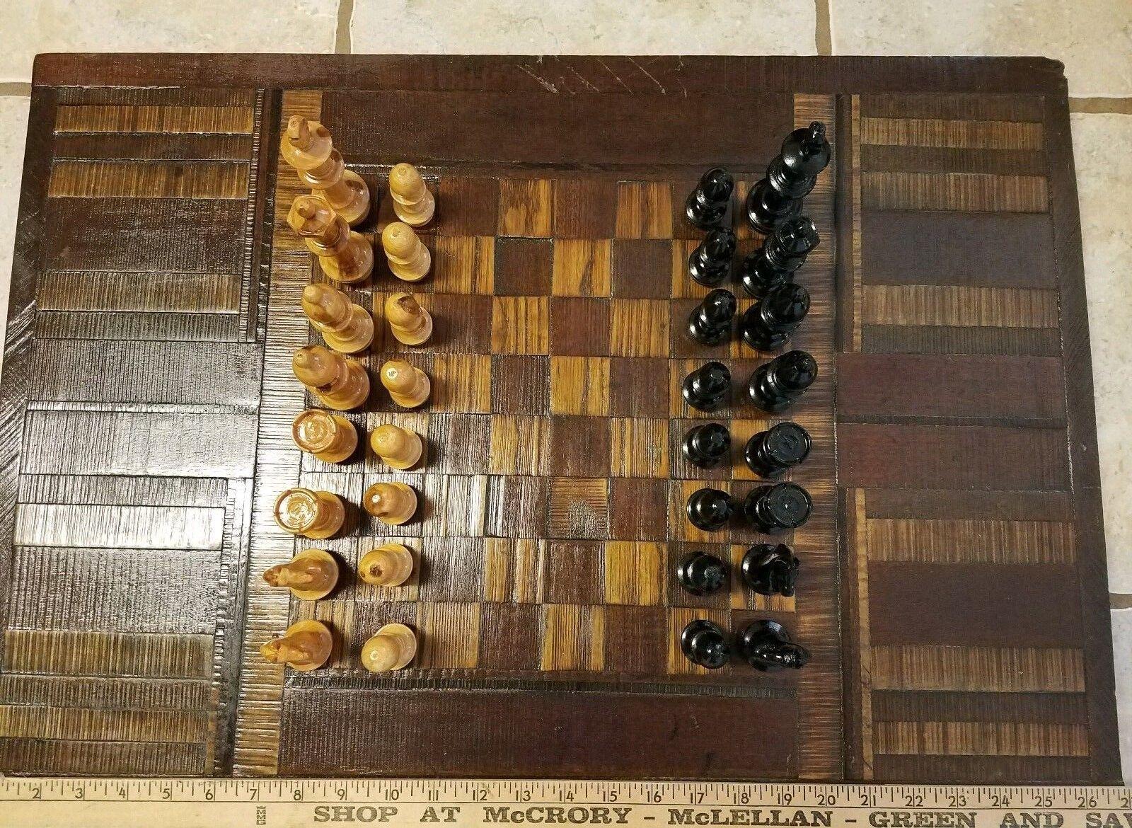 Vintage  He fatto Wood Chess tavola e Chess Set re 4   acquisto limitato