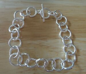 9-034-Sterling-Silver-15g-Large-13mm-Rolo-Round-link-Charm-Bracelet-Toggle-Clasp