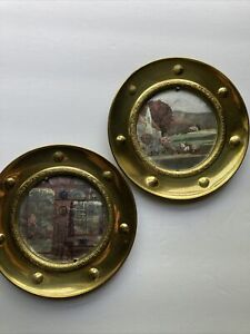 Two Stunning Vintage Solid Brass Picture Frames W Original Glass & PhotosEngland