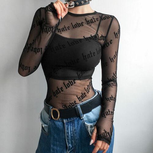 Summer Women/'s Long Sleeves Blouse Tops Mesh Sheer Casual Loose T Shirt Tops