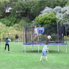 13' Square Sport Arena Trampoline Enclosure Blue Volleyball Net Basketball Hoop