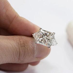 230 Ct Princess Cut 3Stone Diamond Engagement Ring w Trillion E