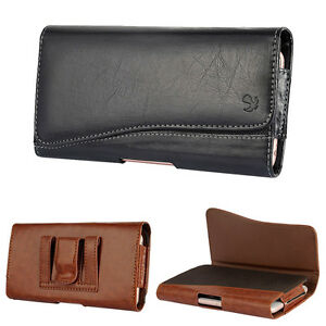 Leather-Holster-Belt-Clip-Carrying-Case-Pouch-For-iPhone-Samsung-Large-Cellphone