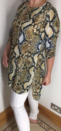 Snake Print Tunic Top Gold One Size Fits 10-16 Necklace Soft Long Crystals NEW
