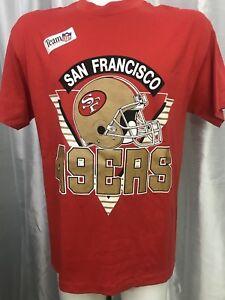 USA-nos-Vtg-San-Francisco-49er-039-s-TRENCH-Red-T-Shirt-sz-L-42-034-TEAM-NFL-Football