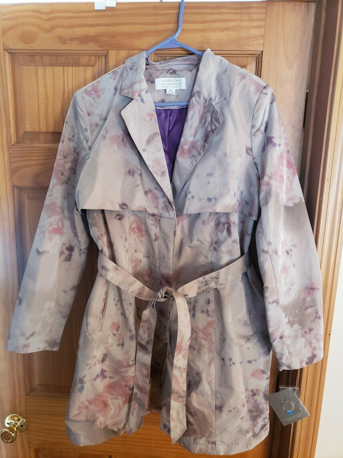 American Glamour Badgley Mischka Belted Trench Coat Jacket Watercolor Floral XL
