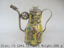 Chinese ancient Tibet copper longfeng pig ceramic teapot