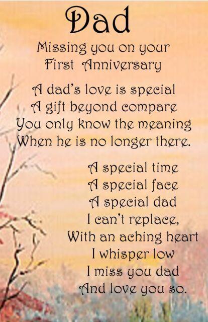 A* *Dad* First Anniversary Bereavement Graveside Memorial Keepsake Card no66