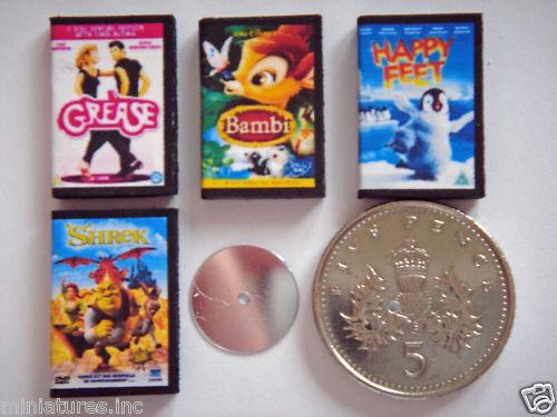 Handmade 1:12th Happy Feet 4 DOLLS HOUSE MINIATURE DVD/'s Grease Shrek Bambi