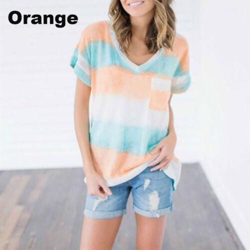 New Women/'s Short Sleeve T-shirt Loose Irregular Striped V Neck Tops Plus Size