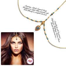Light Blue HeadPiece Hair Indian Costume Jewellery Matha Patti Scarf Hijab Gold