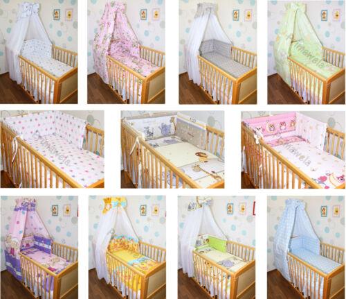 Himmelstange -VIELE  DESIGN Bettwäsche Nestchen Baby Bettset mit Himmel 6-T