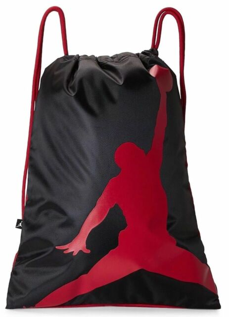 8019a27c75 Nike Air Jordan Jumpman ISO Gymsack Drawstring Bag BackpacK Black Red  9A1940-KR5