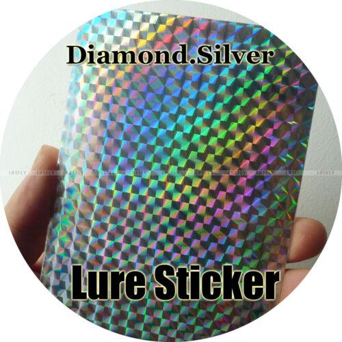 20pcs Jig and Lure Sticker Diamond Silver Color 15cm x 9cm Holographic