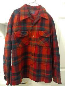 Vintage-Pendleton-Wool-Red-Plaid-Board-Loop-Collar-Shirt-Mens-M-READ