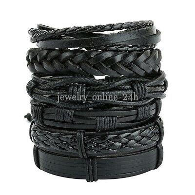 Men Black Braided Leather Bracelet Bangle Wrap Rope Wristband Fashion Jewelry
