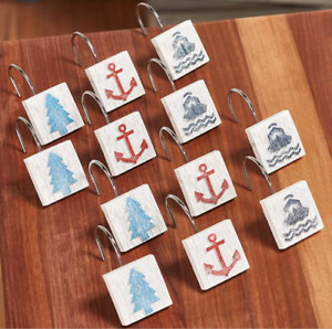 Lake-Inspired-Shower-Curtain-Hooks-Waterfront-Living-Anchor-Boat-Tree-Bath-Decor