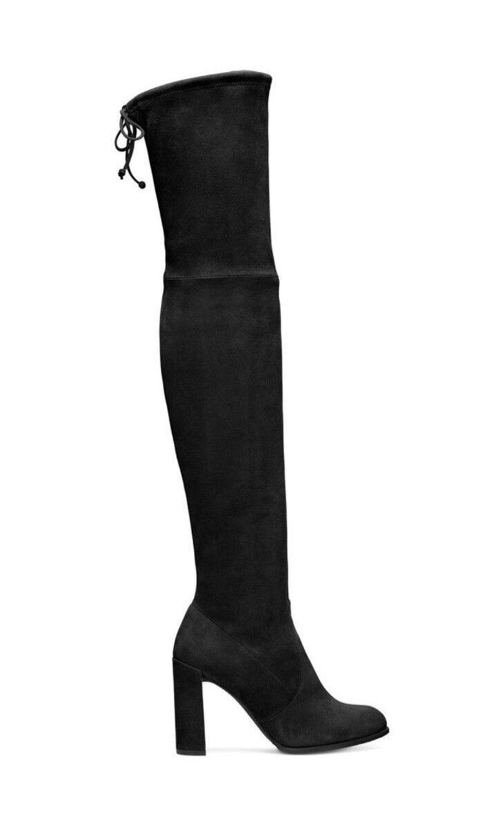 designer online Stuart Weitzman NEW Highland Highland Highland nero Suede OTK stivali Dimensione 4  798 MINOR Flaw  omaggi allo stadio